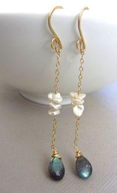 Pearl Labradorite Earrings Wedding Jewelry by JewelryBySonjaBlume