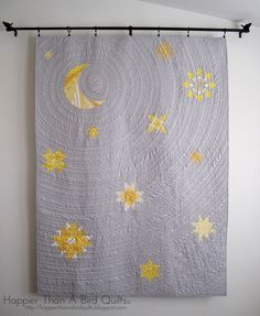 """Simply stunning """"Starry Samhain Night"""" by Lindsey G of Happier Than A Bird Quilts. The quilting detail here is just amazing! Love the circular quilting. Star Quilts, Mini Quilts, Baby Quilts, Quilt Blocks, Quilting Projects, Quilting Designs, Sewing Projects, Quilting Ideas, Crochet Projects"""