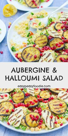 This fabulous Aubergine and Halloumi Salad looks impressive, but it's actually really easy to make and tastes amazing! Perfect as a starter, a side dish or a delicious vegetarian meal in its own right. #aubergines #halloumi #bulgurwheat #chickpeas #salad #auberginesalad #halloumisalad #chickpeasalad #vegetariansalad #vegetarian #makeahead #easyentertaining #easymidweekmeals #easymeals #easysides #easystarters #midweekmeals #easydinners #dinnertonight #familydinners #familyfood #easypeasyfoodie Salad Recipes, Coleslaw Recipes, Cheese Recipes, Vegetable Dishes, Vegetable Recipes, Healthy Comfort Food, Healthy Food, Halloumi Salad, Tasty Vegetarian Recipes