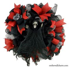 Halloween Reaper Deco Mesh Wreath by OnTheWallCharm on Etsy