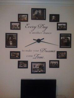 Wall Decored Ideas For Living Room Design Family Photos 66 Ideas Photo Wall Clocks, Photo Clock, Picture Clock, Wall Clock With Pictures, Wall Photos, Diy Clock, Ikea Clock, Clock Wall, Wall Art