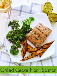 Grilled Cedar Plank Salmon Recipe with Grilled Sweet Potatoes