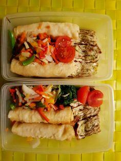 Omelete rolls, spring rolls and veggies.