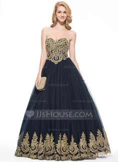 Ball-Gown Sweetheart Floor-Length Appliques Lace Zipper Up Strapless Sleeveless No 2016 Dark Navy Spring Summer Fall General Plus Tulle Prom Dress