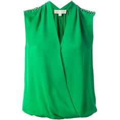 MICHAEL MICHAEL KORS crossover blouse (2,270 MXN) ❤ liked on Polyvore featuring tops, blouses, shirts, blusas, green top, silk blouses, green silk blouse, green shirt and v neck sleeveless shirt