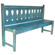 turquoise painted bench - this is the distressed look I like