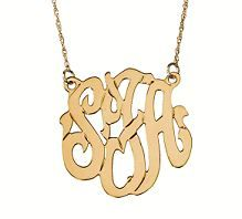 Freeform gold monogram initial necklace with attached chain at Carolina Clover designed by Jane Basch.