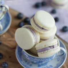 Delicate Almond French Macarons are Sandwiched with a Rich and Creamy Blueberry Mascarpone Filling. A Fresh way to enjoy Seasonal Summer Berries! Do you follow me on Facebook? If so, you may remem...