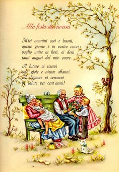 Laboratori per bambini: poesia per la festa dei nonni Vintage Children's Books, Vintage Cards, Learn To Speak Italian, Italian Words, Grands Parents, Feelings Words, Vintage School, Italian Language, Learning Italian