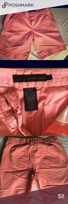 """Calvin Klein Bermuda Shorts These are salmon colored Bermuda shorts that are a size 8 with an 8.5"""" inseam. They are very soft and comfortable. Calvin Klein Shorts Bermudas"""