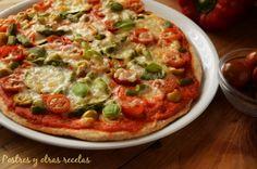 Pizza hortelana (integral) Mi pizza favorita postresyotrasrecetas.blogspot.com