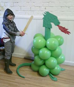 Dragon slaying at my sons Knights birthday party. Kids had great fun popping the balloons with a lance.