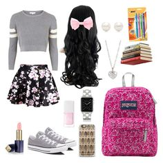 """Back To School Outfit"" by forevercrazyfashiondivas ❤ liked on Polyvore featuring moda, Topshop, Converse, Tiffany & Co., Finn, Casetify, Christian Dior, Estée Lauder, JanSport i Umbra"