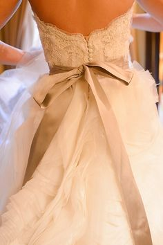 lace wedding gown with beige sash - would want a coral sash, love the back of this gown!!
