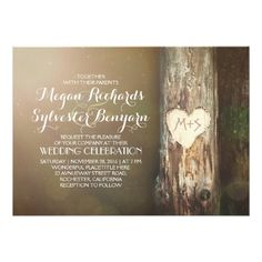 Country Wedding Invitations rustic wood heart tree country wedding invitation