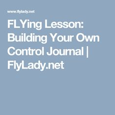 FLYing Lesson: Building Your Own Control Journal Cleaning Checklist, Cleaning Hacks, Fly Lady Cleaning, Control Journal, Bloom Planner, Planner Organisation, Clean My House, Flying Lessons, Flylady