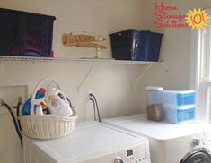 Decluttered and organized laundry room shown by Melissa {featured on Home Storage Solutions 101}