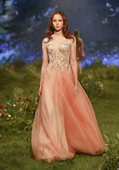 PSS/S1707 - T-shirt gown with signature petal skirt and threadwork wildflower embroidery