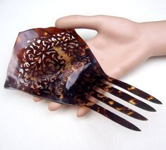 Vintage faux tortoiseshell Spanish mantilla style hair comb headdress headpiece hair fork decorative comb hair jewelry