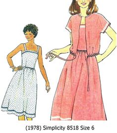 Vintage++Sewing+Pattern+Misses+Sundress+Unlined+Jacket+Size+6++Simplicity+8518