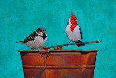 Monica Goetze Coloured Pencils, Enamel Paint, Bird Art, Mixed Media, Birds, Draw, Contemporary, Floral, Paintings