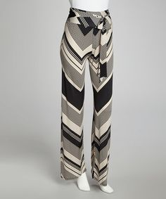 Take a look at this Black & Ivory Tie-Waist Pants by Ariella USA on #zulily today!