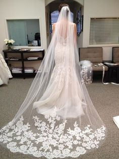 Beautiful long wedding veil. I want this XD