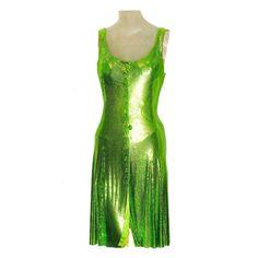 Gianni Versace Metal-Mesh Lime-Tone Dress with Medusa Buttons