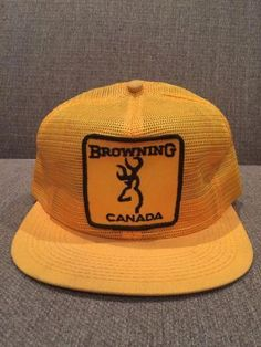 d26ab2d9638 Vtg Browning Canada Trucker Hat Mesh Snap Back Yellow Hunting Shooting