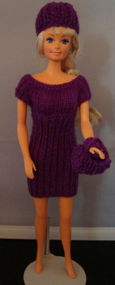 Ladyfingers - Teen Fashion Doll (Barbie) Ribbed Sweater Dress, Hat, Purse