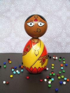 Lakshmi Devi  Handpainted Wooden Indian Goddess by StudioBommai