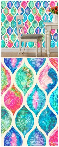 watercolor ogee patchwork pattern by micklyn #wallpaper #spoonflower #decor #pattern #design