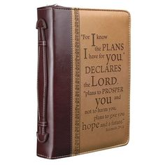 """I KNOW THE PLANS"" BIBLE/BOOK COVER - Jeremiah 29:11 Large Zipper Cross Leather"