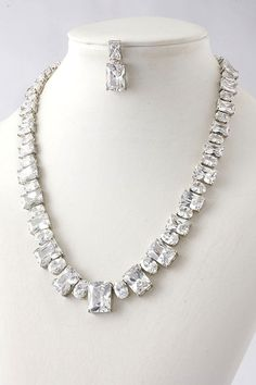 Stunning Genuine CZ Necklace & Earrings Set