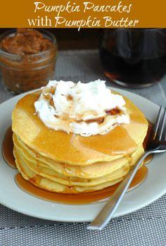 This Mama Loves: Pumpkin Pancakes with Pumpkin Butter #pancakes #recipe #brunch