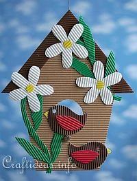 Corrugated Cardboard Birdhouse Decoration - nice use of the corrugation texture.