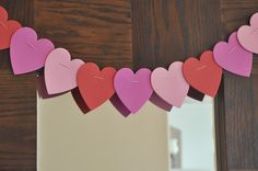 Easy Valentine Garland...foam hearts and bakers twine