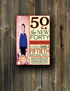 50th Birthday Invitation or ANY age WITH by BreannaGalatte on Etsy, $19.00