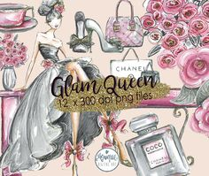 Glam Fashion Clip Art, Fashion Illustration, Bouquet Hand bag Shoes flowers Graphics, Planner Stickers, Planner Girl Digital Cliparts by MoniqueDigitalArt on Etsy