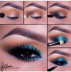 Find images and videos about fashion, makeup and eyes on We Heart It - the app to get lost in what you love. Teal Eye Makeup, Makeup Eye Looks, Eye Makeup Steps, Love Makeup, Skin Makeup, Makeup Inspo, Eyeshadow Makeup, Makeup Inspiration, Flawless Makeup