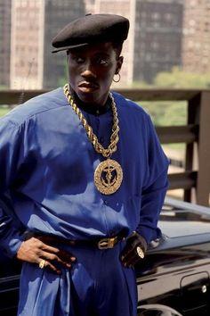 "Wesley Snipes as ""Nino Brown"" in the 1991 film ""New Jack City"" Hip Hop Fashion, 90s Fashion, New Jack City, Arte Black, Wesley Snipes, Gta San Andreas, Arte Hip Hop, 90s Hip Hop, Film Serie"