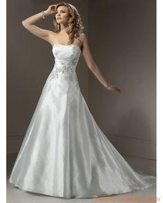 2013 Brautkleid aus Taft Schulterfreier Ausschnitt und A-Linie Rock mit Kapelleschleppe