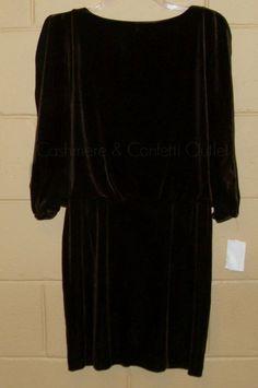 Jessica Simpson NEW Brown Velvet Cocktail DRESS Split Sleeve SMALL Open Back S #JessicaSimpson #Blouson #Cocktail