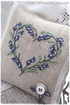 Cross stitch on linen, add lavender
