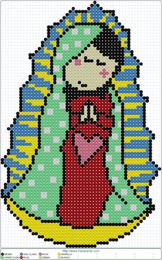 virgen guadalupe EN HAMA BEADS, Perler Bead Patterns