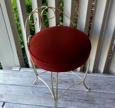 brass vanity chair with lime green velvet seat, reupholster in ...