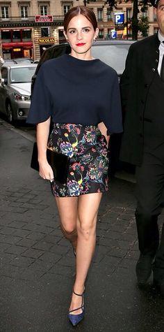 Ema Watson short blue and flowers skirt
