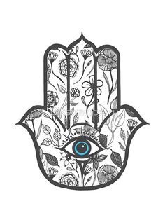 'Simple Hand Drawn Floral Hamsa Hand' Sticker by Blkstrawberry Hamsa Design, Hamsa Tattoo Design, Hamsa Hand Tattoo, Hand Tattoos, Hamsa Art, Tatoos, Hamsa Drawing, Evil Eye Art, Hand Sticker