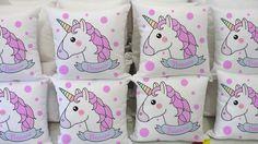 Almofadas personalizadas com tema unicórnio, para lembranças de aniversário infantil, noite do pijama e outras ocasiões.