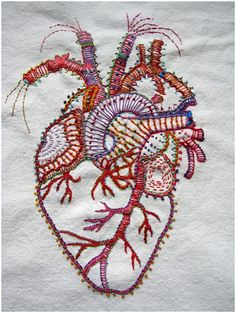 Rebecca Ringquist, Embroidery, stitching, heart, organ, body, colorful, FIBER…